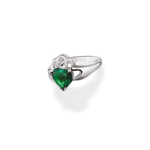 Newbridge Silverware Maureen O'Hara Claddagh Ring Green